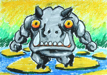 angry hippo walk on stone in water painting  photo