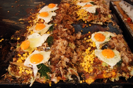 Japanese food Okonomiyaki is japanese pizza photo