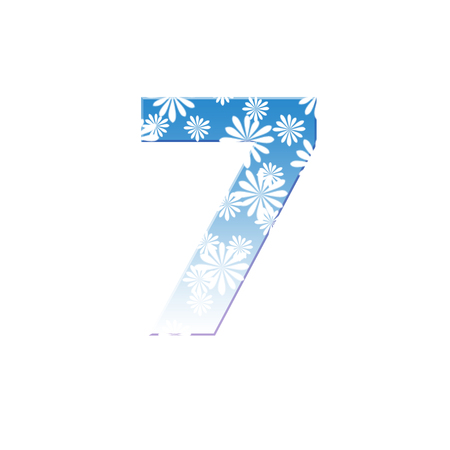 Number seven, 7 made from white flower on blue color photo