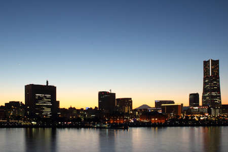 Yokohama city , Japan skyline at sunset photo