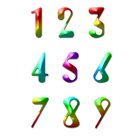 Number one to nine made from rainbow color Stock Photo - 28829020
