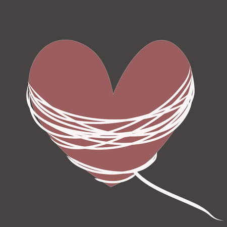 crimson: Crimson heart with white rope on a gray background