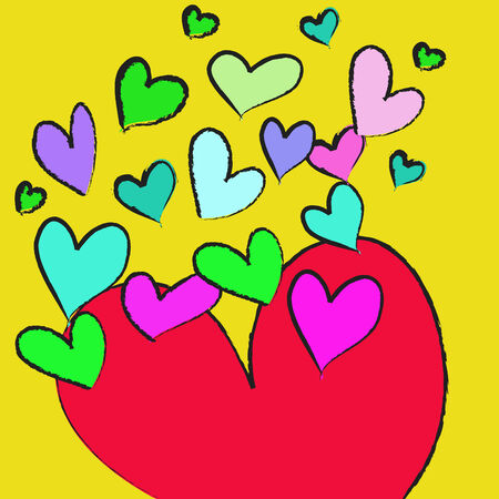 colorful heart on a yellow background photo