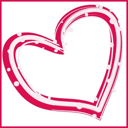 abstract pink strip white heart on a white background