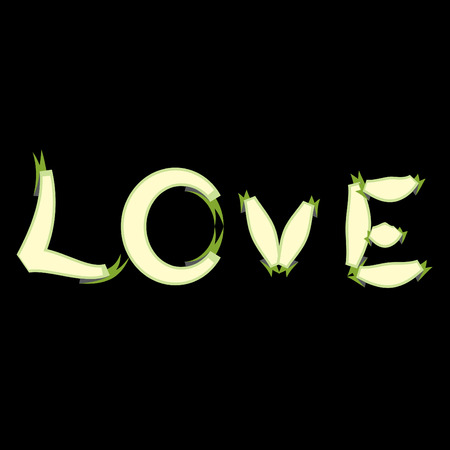 abstract love text on a black background