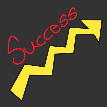 proceed: success text with growth arrow on black background Stock Photo