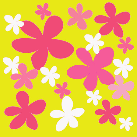 abstract colorful flower on a yellow background Stock Photo