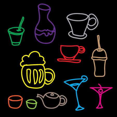 margerita: colorful drink   beverage icons set on a black background