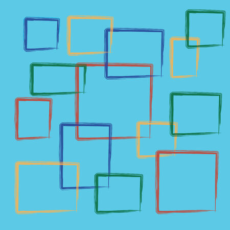 abstract colorful square on a blue background Stock Photo