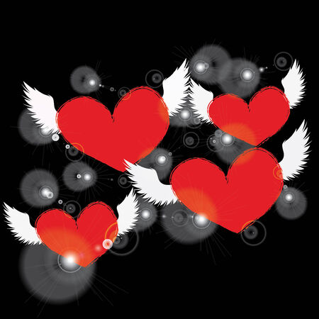 red heart with white angel wing on a black background photo