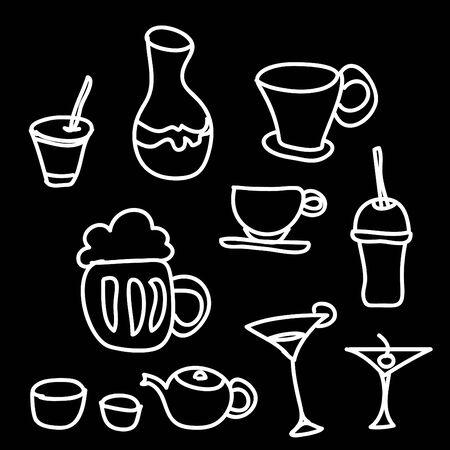 margerita: drink & beverage icons set on a black background Stock Photo