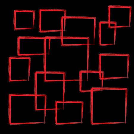abstract red square on a black background Stock Photo