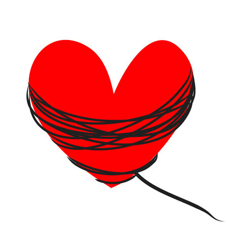 red  heart with black rope on a white background photo