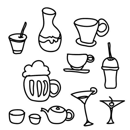 drink & beverage icons set on a white background photo