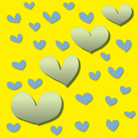 abstract colorful heart on a yellow background