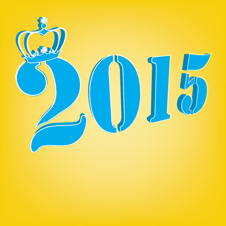 2015 Text with crown on a yellow background
