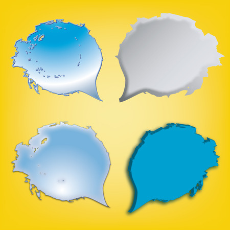 dialog speech bubbles icons on a yellow background Stock Photo