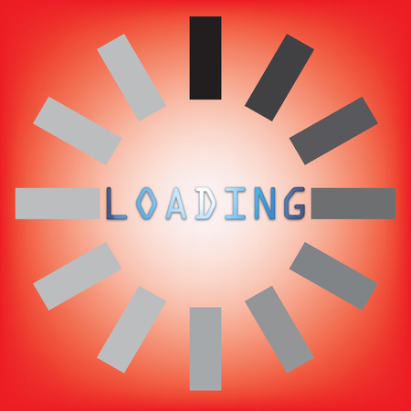 abstract loading symbol on a red background photo