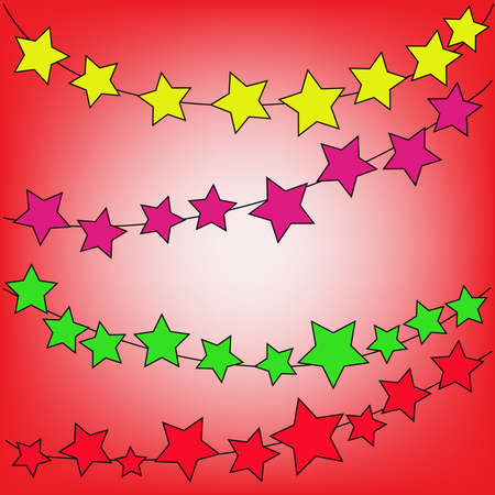 abstract magic  colorful star on a red background Stock Photo