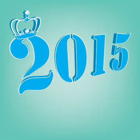 2015 Text with crown on a blue background