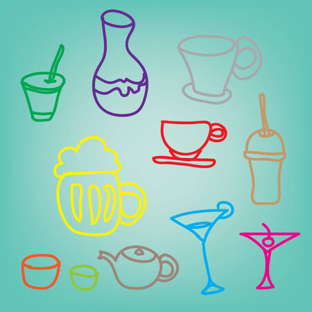 margerita: colorful drink & beverage icons set on a blue background