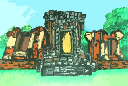 a colorful old thai temple painting background