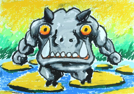 angry sky: angry hippo walk on stone in water painting background Illustration