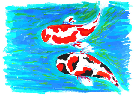 swiming: koi fish swiming in water painting background Illustration