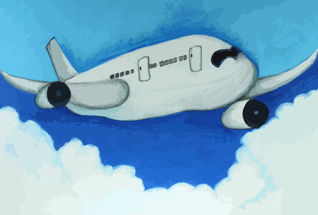 ink jet: airplane in a blue sky painting background Illustration