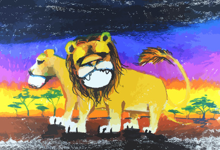 the lion drawing painting with colorful  background