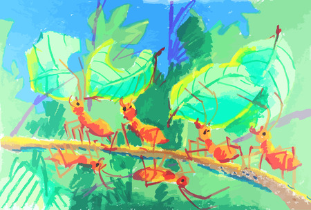 an colorful ants working together painting background Vector