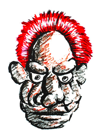 gaffer: old man face with red hair painting on a white background Illustration