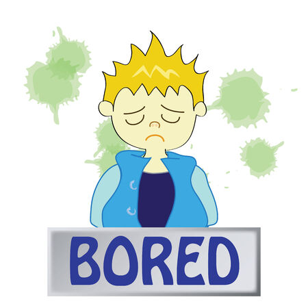 a boy character  feeling bored on a white background Vector