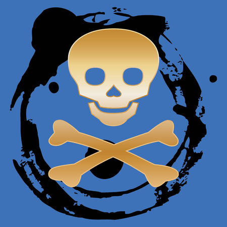 abstract gold skull & crossbones on a blue background Vector