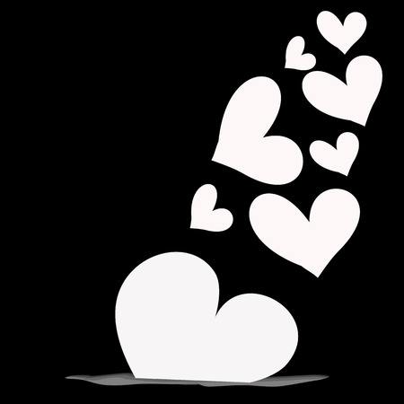 abstract magic white heart on a black background