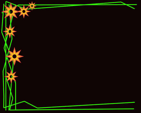 Abstract yellow flower with green line on a black background