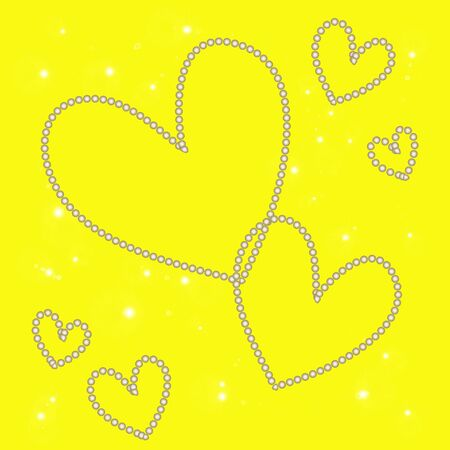 abstract magic white heart on a yellow background
