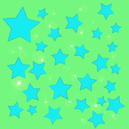 abstract bokeh blue star on a green background