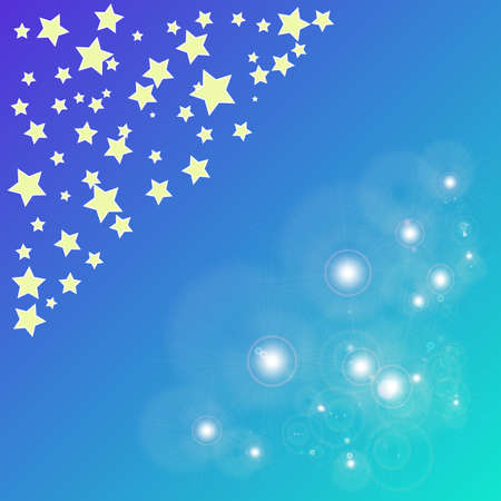 abstract magic bokeh yellow star on a blue background Illustration