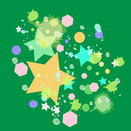 abstract colorful sta on a green background Vektoros illusztráció