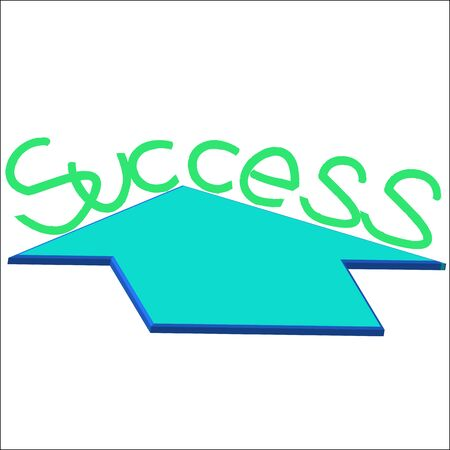 success text with growth arrow on a white background