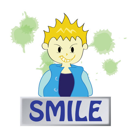 a boy character  feeling smile on a white background Vector
