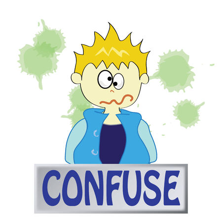a boy character feeling confuse on a white background Vector