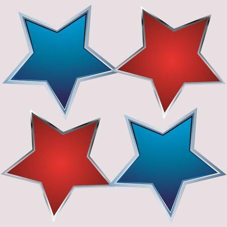 estrella azul: estrella roja y azul sobre un fondo gris