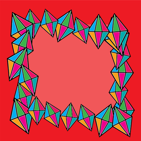 colorful  diamonds squares with space for text on a red background Illustration
