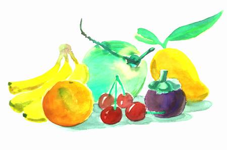 mezcla de frutas: pintura de la fruta mezclada en un fondo blanco