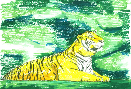 the tiger in green forest painting background