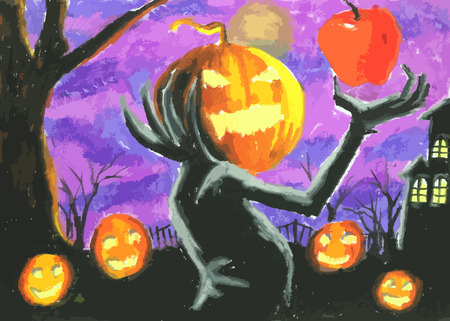 ghost house: pumpkin devil on halloween
