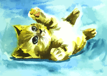 cute cat painting on a blue background