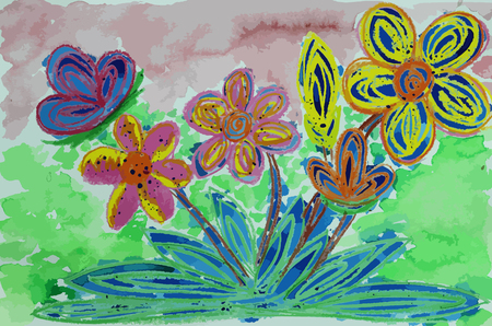 colorful flower  painting background , beatiful flower background